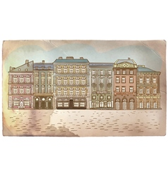 Antique European street Vintage post card vector image