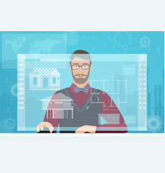 Architect builder man working using virtual media vector