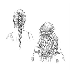 braids hairstyle drawing vector image