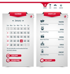 Calendar and icons vector