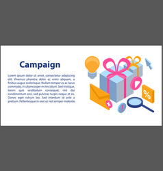Campaign concept banner isometric style vector