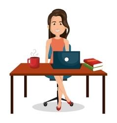 Cartoon businesswoman office work desktop graphic vector