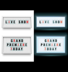 cinema lightbox sign illuminated light box vector image