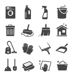 cleaning black icon domestic equipment and vector image