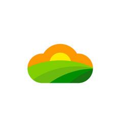 Cloud farm logo icon design vector