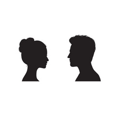 Couple faces silhouette couple facing each other vector