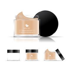 Cream jar cosmetic transparent bottle vector