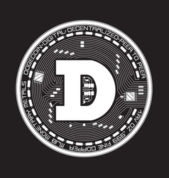 crypto currency dogecoin black and white symbol vector image vector image