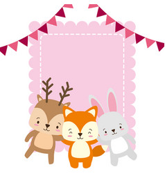 cute deer fox and rabbit animals greeting card vector image