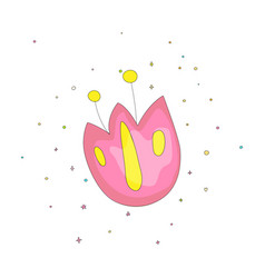cute fun cartoon flower vector image