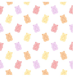 cute gummy bears seamless pattern background vector image