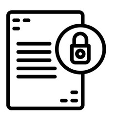 Document with lock line icon list with padlock vector
