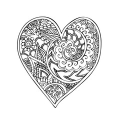 doodle heart with zentangle ornaments vector image