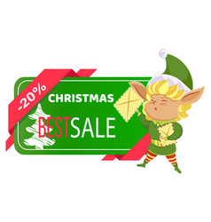 elf and christmas sale card winter holiday off vector image