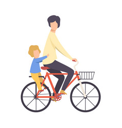 father and his son riding bicycle vector image