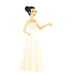 Fiancee with arm out in a welcoming gesture vector