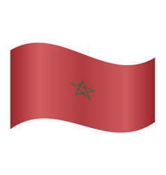 flag of morocco waving on white background vector image
