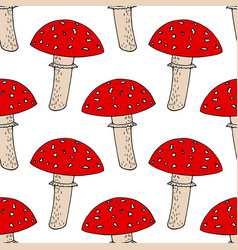 Fly agaric seamless pattern wallpaper textile vector