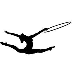 Girl gymnast splits jump hoop vector