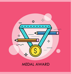 Golden medal with dollar symbol on it and pair of vector