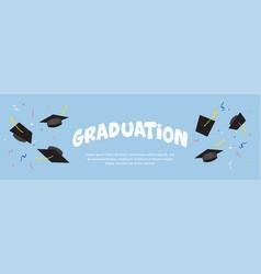 graduating black caps up in air vector image