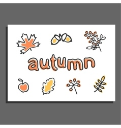 Greeting card with autumn vector image