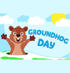 groundhog is awake and stretching on nature vector image