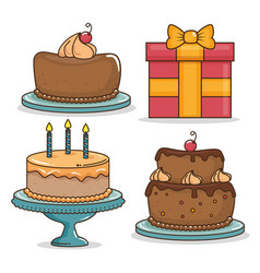 happy birthday icon set design vector image