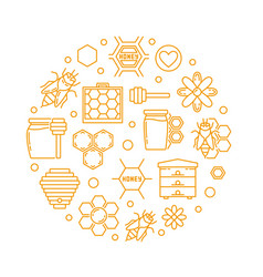 Honey and beekeeping linear round vector