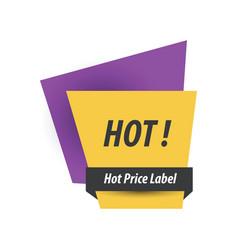 Hot price label purple yellow black vector