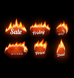 hot prices promotional offer stickers set vector image