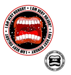 I am very hungry stamp Printing for hungry people vector image