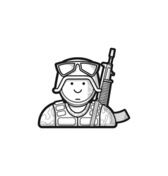 Icon Soldier in uniform with a gun in camouflage vector
