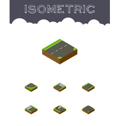 isometric road set of footer strip road and vector image