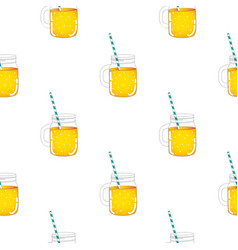 jar lemonade seamless pattern background vector image