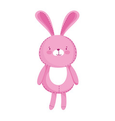 Kids toys cute pink rabbit cartoon isolated icon vector