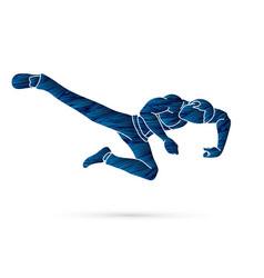kung fu pose kick boxing jumping attack vector image