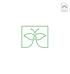 Leaf butterfly logo design icon element isolated vector