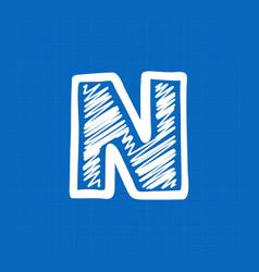 Letter n logo on blueprint paper background vector