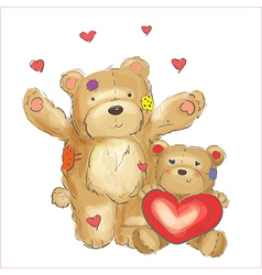 Lovely bears with hearts sketch vector image