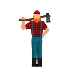 Lumberjack woodman woodcutter an ax carpenter vector image