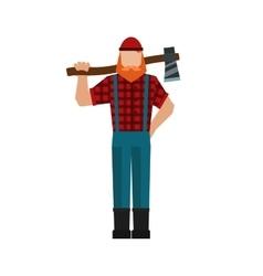 Lumberjack woodman woodcutter an ax carpenter vector