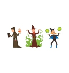 Magicians and wizards show old man vector image