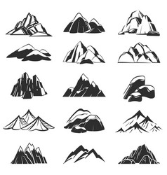 Mountain symbols silhouette mountains with range vector
