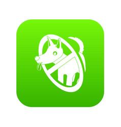 no dogs icon green vector image