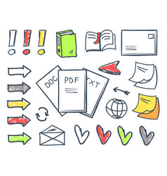 Office papers pdf and doc txt files set vector