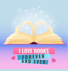 open book with page decorate into a two hearts vector image