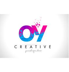 Oy o y letter logo with shattered broken blue vector