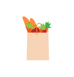 paper bag full of food grocery delivery concept vector image