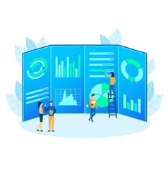 people make analytic finance project flat vector image